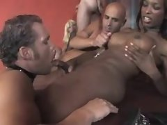 Four guys suck three horny trannyes