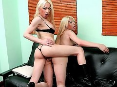 Two blonde shemales sucking and fucking in the living room