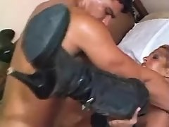TS in high boots gets crazy facial