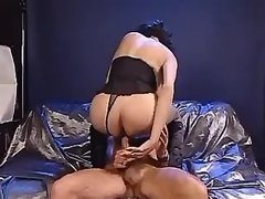 Sexy shemale in lingerie rides cock