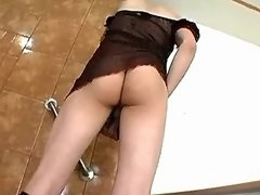 Lustful shemale plays with big cock