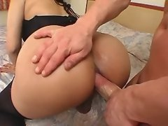 Gorgeous brunette shemale gets anal