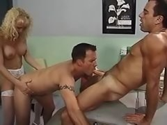 Wild orgy with blonde shemale nurse