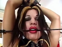Hot tranny in latex spoiled by guys