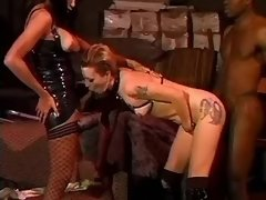 Latex shemale madam commands slaves