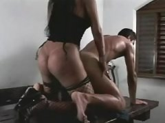 Dude and busty TS sucks each other