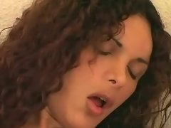 Curly transsexual beauty shows off