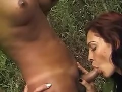 Wild shemales seduce guy in forest